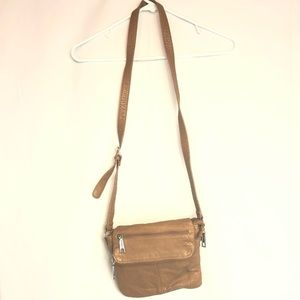 LC brown folding pleather side bag classic silver